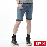 EDWIN 迦績褲JERSEYS黑腰頭短褲-男-拔洗藍