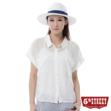 5th STREET 雪紡拼接短袖襯衫-女-米白色