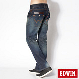 EDWIN 503 B.T拉鍊釦絆中直筒牛仔褲-男-中古藍