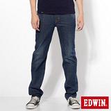EDWIN 大尺碼 基本五袋高腰中直筒牛仔褲-男-原藍色