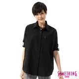 SOMETHING 格紋寬鬆襯衫-女-黑色