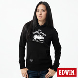 EDWIN 摩托車植絨連帽T恤-女-黑色