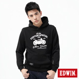 EDWIN 摩托車植絨連帽T恤-男-黑色