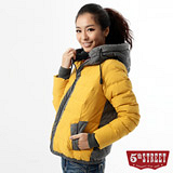 5th STREET 異材質拼接羽絨外套-女-桔黃色