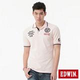 EDWIN 植絨徽章POLO衫-男-淺粉紅