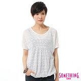 SOMETHING 燒花假兩件式T恤-女-白色