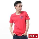 EDWIN 貼袋V領短袖T恤-男-紅色