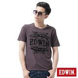 EDWIN LOGO復古植絨短袖T恤-男-暗灰