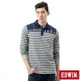 EDWIN 剪接條紋長袖POLO衫-男-麻灰色