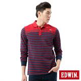 EDWIN 剪接條紋長袖POLO衫-男-丈青色
