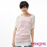 SOMETHING 甜美圓領長版線衫-女-白色