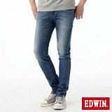 EDWIN 窄直筒EDGE假袋蓋牛仔褲-男-石洗藍