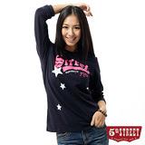 5th STREET T恤 基本繡花長袖T恤-女-丈青