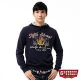 5th STREET 厚絨拼格連帽T恤-男-黑藍色