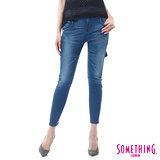 SOMETHING 3D立體打摺八分牛仔褲-女-原藍磨