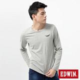 EDWIN T恤 配色印花圓領T恤-男-麻灰