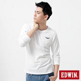 EDWIN T恤 配色印花圓領T恤-男-白色