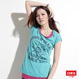 EDWIN 太陽印花大口袋T恤-女-藍綠