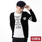 EDWIN 針織衫 學院風開襟線衫-男-黑色