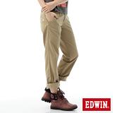 EDWIN KHAKI中直筒休閒褲-女-淺卡其