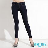 【SOMETHING】極致美腿-針織超彈性窄直筒褲-女款(原藍色)
