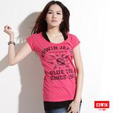 EDWIN 太陽印花大口袋T恤-女-桃紅色