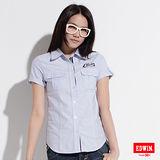 EDWIN 牛津短袖襯衫-女-淺藍色