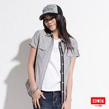 EDWIN 牛津短袖襯衫-女-灰色
