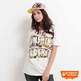 5th STREET 彩色泡泡印花寬版短袖T恤-女-米色