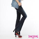 SOMETHING VIENUS拉鍊蕾絲靴型牛仔褲-女-原藍磨