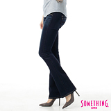 SOMETHING 蕾絲雙層腰頭靴型牛仔褲-女款(原藍磨)