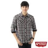 5th STREET 細格紋長袖襯衫-男-黑色