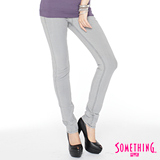 SOMETHING NEO低腰窄直筒牛仔褲-女-銀灰色