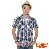 5th STREET 雙蓋袋格紋襯衫-男-土耳其藍