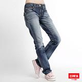 【EDWIN】MISS EDWIN BT袋蓋中直筒牛仔褲-女款(拔淺藍)
