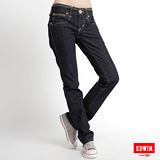 【EDWIN】MISS EDWIN BT袋蓋中直筒牛仔褲-女款(原藍色)