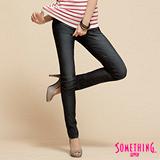SOMETHING NEO低腰窄直筒牛仔褲-女-原藍磨