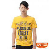 5th STREET 街霸印花T恤-男-黃色
