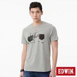 EDWIN 反面印花口袋短袖T恤-男-麻灰
