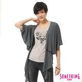 SOMETHING 斗篷罩衫背心-女-暗灰色