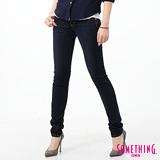 SOMETHING 流星窄直筒牛仔褲-女-原藍磨