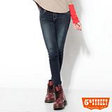5th STREET 彈力取線 伸縮窄直筒牛仔褲-女款(酵洗藍)