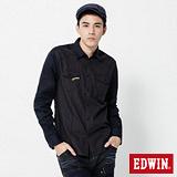 EDWIN 千鳥格配色剪接長袖襯衫-男-黑色