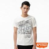 5th STREET 1965美式印花T恤-男-白色