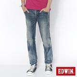 EDWIN B.T皮剪接純棉窄直筒褲-男-石洗藍