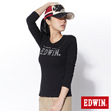 EDWIN 幾合線條LOGO長袖T恤-女-黑色