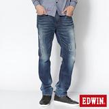EDWIN 503 NARROW微破中直筒褲-男-石洗藍