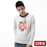EDWIN T恤 懷舊相片圓領T恤-男-淺灰