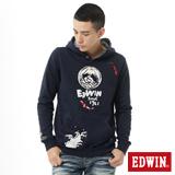 EDWIN 江戶勝錦鯉連帽T恤-男-丈青色