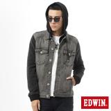 EDWIN 麻花袖牛仔外套-男-黑灰色